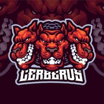 Modèle de logo de mascotte cerberus