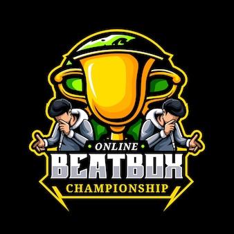 Modèle de logo de mascotte de championnat beat box