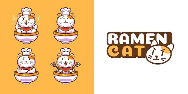 Modèle de logo de mascotte de chat mignon