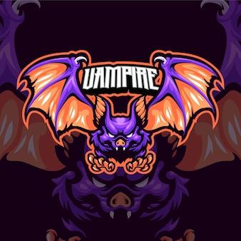 Modèle de logo de mascotte de chauves-souris vampires