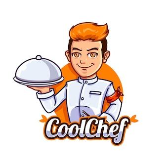 Modèle de logo de mascotte de chef cool