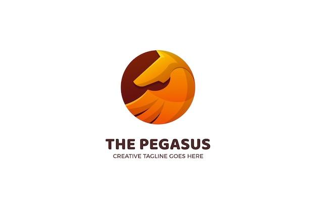 Modèle de logo de mascotte de cheval pegasus