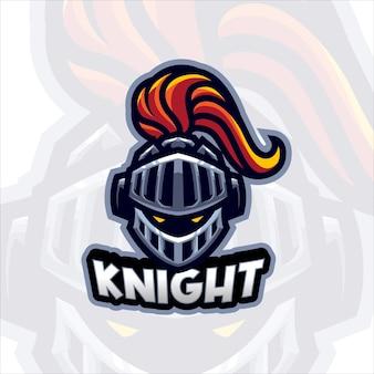 Modèle de logo de mascotte de chevalier