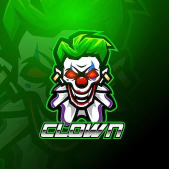 Modèle de logo de mascotte de clown esport