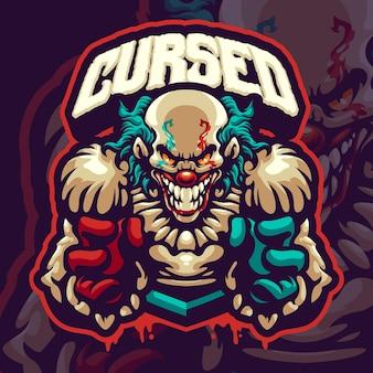 Modèle de logo de mascotte de clowns effrayants