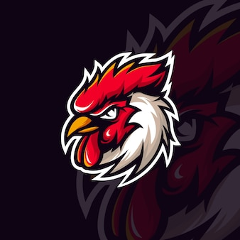 Modèle de logo de mascotte de coq