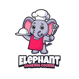 Modèle de logo de mascotte de cours de cuisine d'éléphant