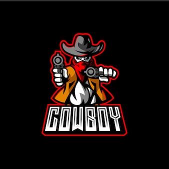 Modèle de logo de mascotte cowboy esport