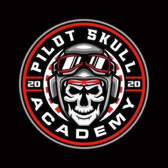 Modèle de logo de mascotte de crâne de pilote