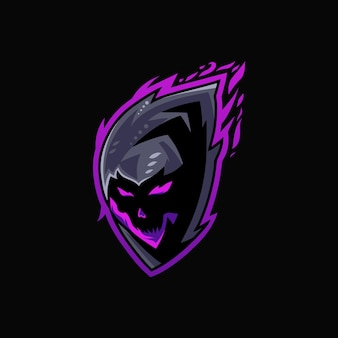Modèle de logo de mascotte de crâne