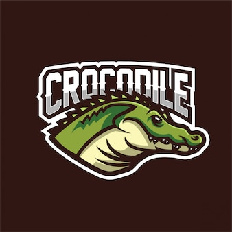 Modèle de logo de mascotte de crocodile alligator esport gaming