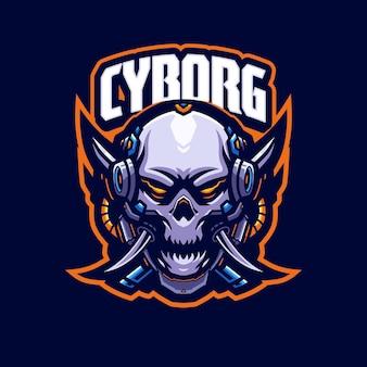 Modèle de logo de mascotte cyborg