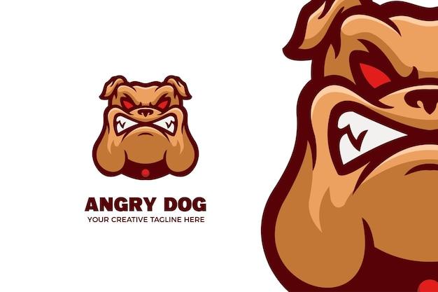 Modèle de logo de mascotte de dessin animé de bouledogue sauvage des yeux rouges