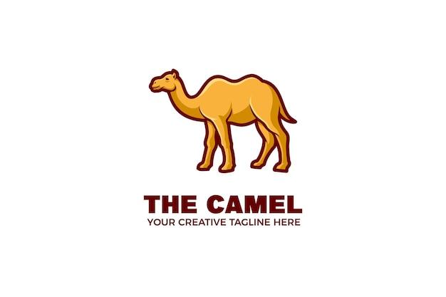 Modèle de logo de mascotte de dessin animé de chameau
