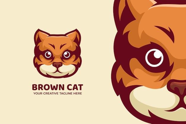 Le modèle de logo de mascotte de dessin animé de chat