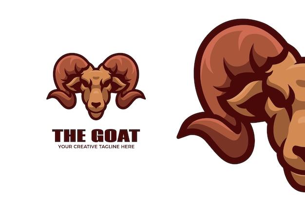 Le modèle de logo de mascotte de dessin animé de chèvre