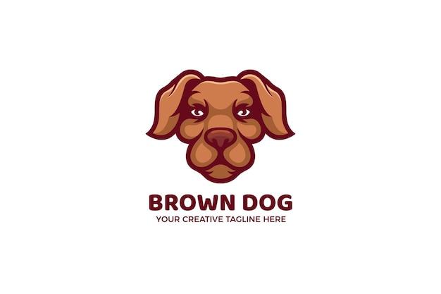 Le modèle de logo de mascotte de dessin animé de chien brun