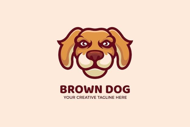 Modèle de logo de mascotte de dessin animé de chien en colère