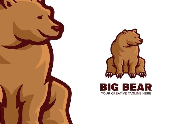 Modèle de logo de mascotte de dessin animé gros ours