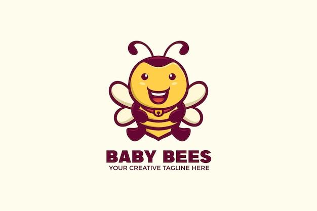 Modèle de logo de mascotte de dessin animé heureux bébé abeille