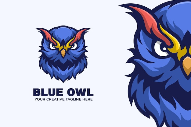 Modèle de logo de mascotte de dessin animé hibou bleu