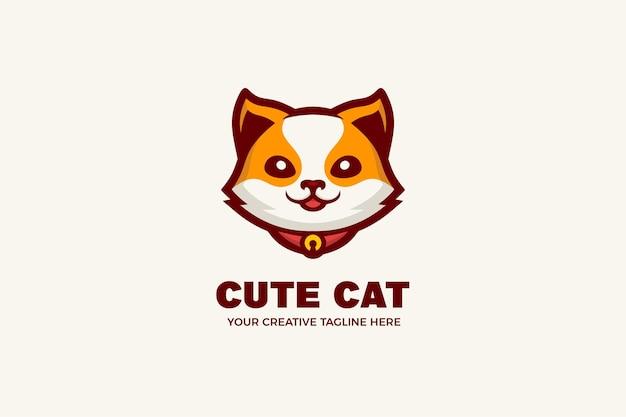Modèle de logo de mascotte de dessin animé mignon chat