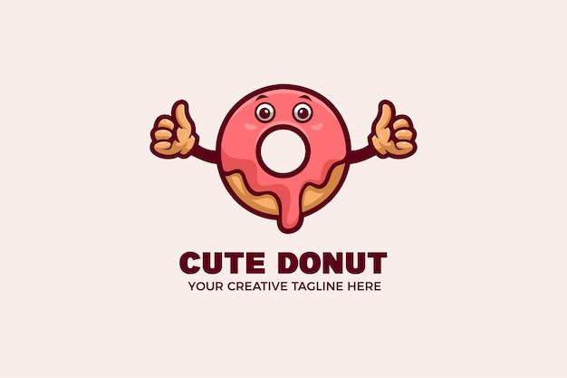 Modèle de logo de mascotte de dessin animé mignon donut bakery