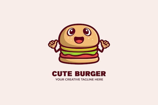 Modèle de logo de mascotte de dessin animé mignon hamburger alimentaire
