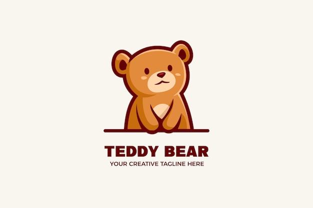 Modèle de logo de mascotte de dessin animé mignon ours en peluche