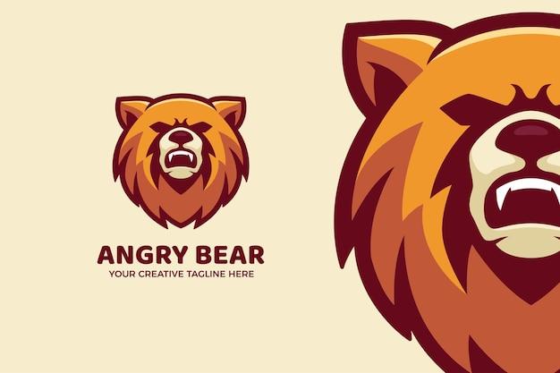 Modèle de logo de mascotte de dessin animé ours brun