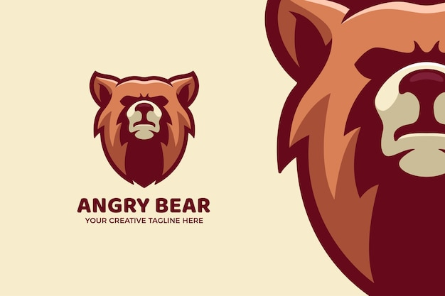 Modèle de logo mascotte dessin animé ours en colère brun
