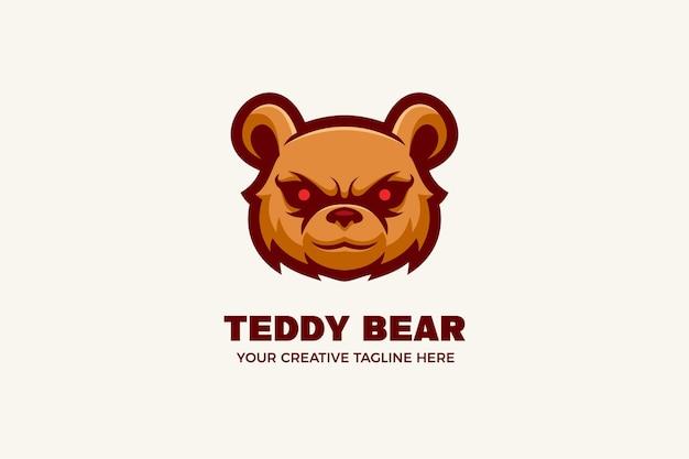 Modèle de logo de mascotte de dessin animé ours en peluche en colère