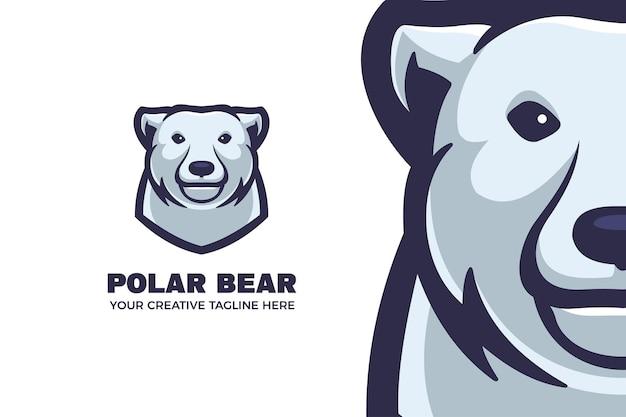 Modèle de logo de mascotte de dessin animé ours polaire