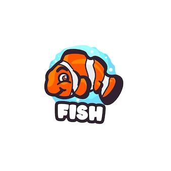 Modèle de logo de mascotte de dessin animé de poisson clown