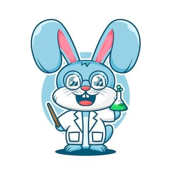 Modèle de logo de mascotte de dessin animé de professeur de lapin mignon