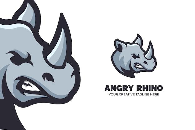 Modèle de logo de mascotte de dessin animé de rhinocéros en colère