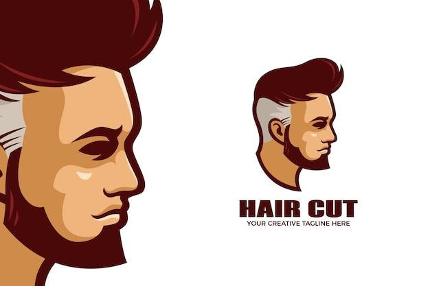 Modèle de logo de mascotte de dessin animé de salon de coiffure de coupe de cheveux