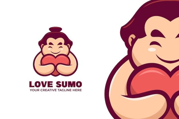 Modèle de logo de mascotte de dessin animé de sumo japonais