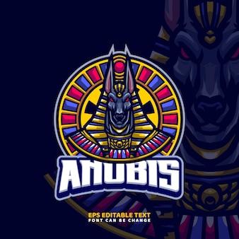 Modèle de logo de mascotte de dieu égyptien anubis