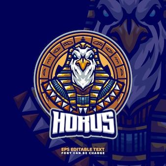 Modèle de logo de mascotte de dieu égyptien horus