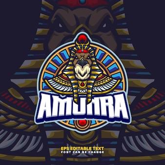 Modèle de logo de mascotte de dieu égyptien ra