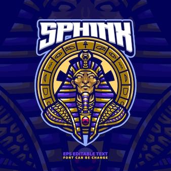 Modèle de logo de mascotte de dieu égyptien sphinx