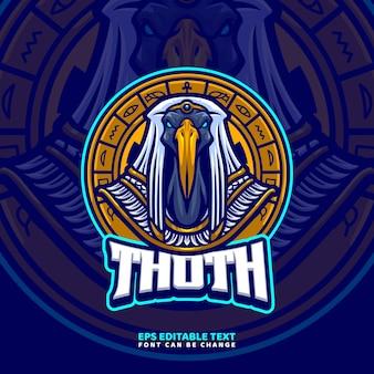 Modèle de logo de mascotte de dieu égyptien thoth