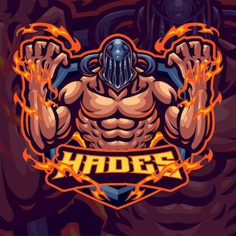 Modèle de logo de mascotte de dieu hadès