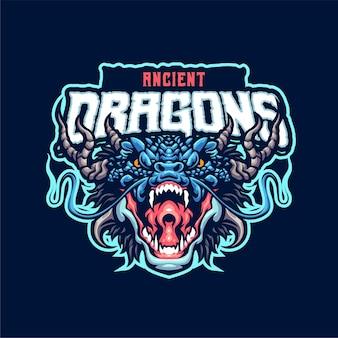 Modèle de logo mascotte dragon antique