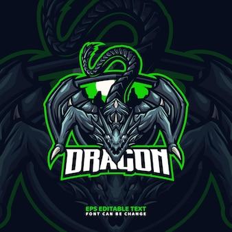 Modèle de logo de mascotte de dragon sur chenilles