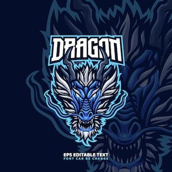 Modèle de logo de mascotte de dragon chinois