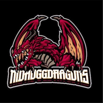 Modèle de logo de mascotte de dragon de nidhogg