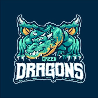 Modèle de logo mascotte dragon vert