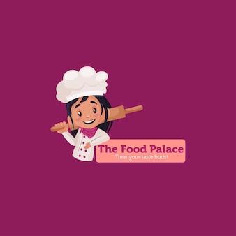 Le modèle de logo de mascotte du palais de la nourriture